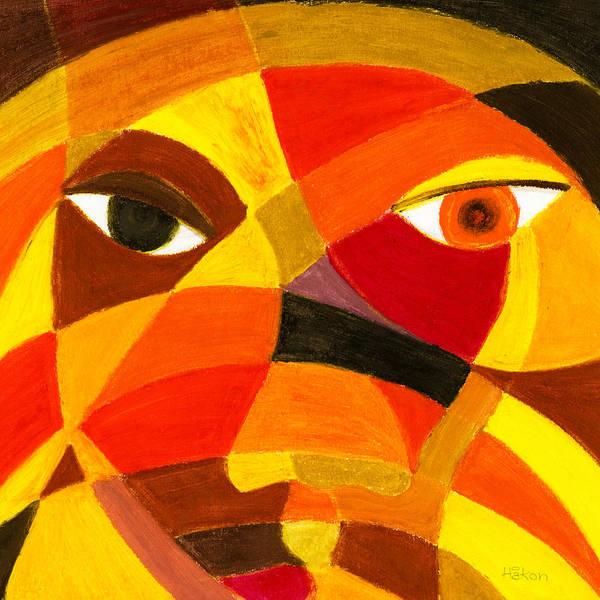 Oil Pastels Drawing - Face 45 by Hakon Soreide