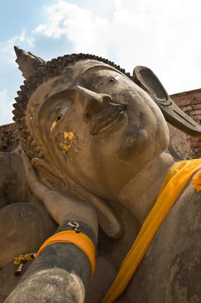 Photograph - Face Of A Reclining Buddha by U Schade