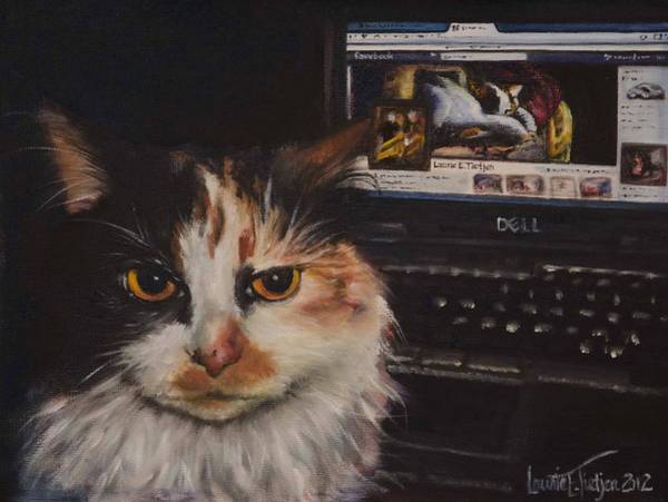 Painting - Facebook Cat by Laurie Tietjen