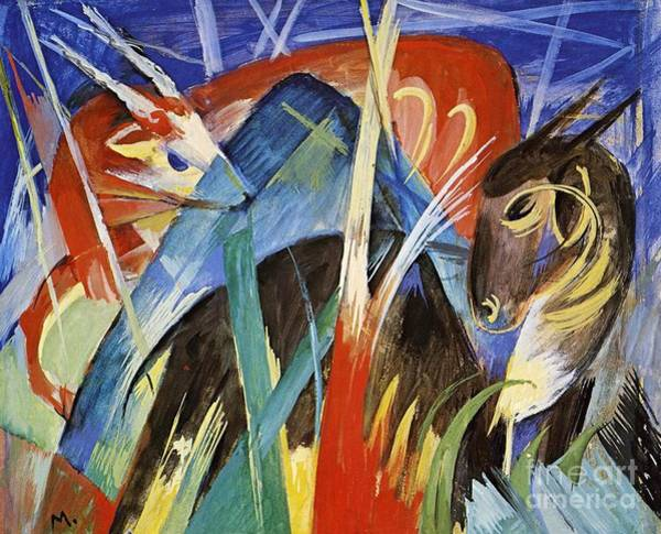Confrontation Wall Art - Painting - Fairy Animals by Franz Marc