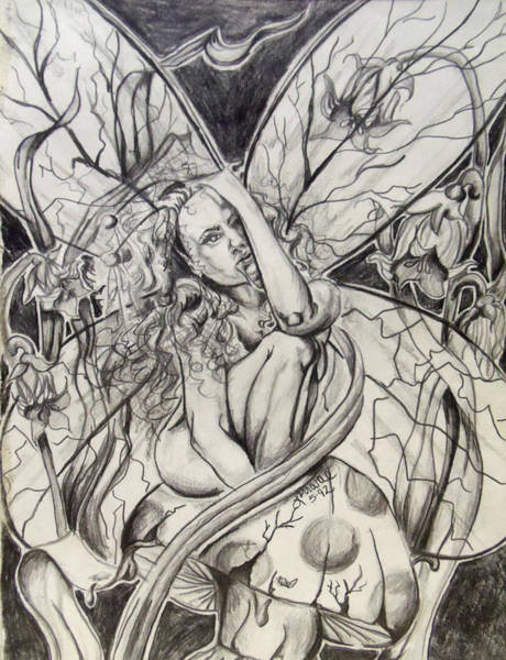 Wall Art - Drawing - Fairy On Toad Stool by Lorraine Davis Martin