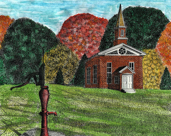 Pump Drawing - Fall Is Coming by Mike OBrien