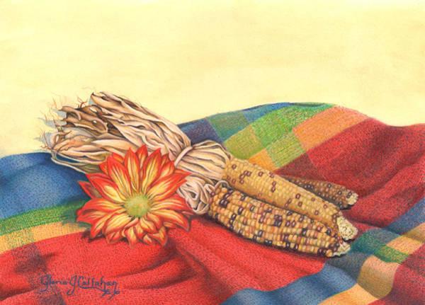 Indian Corn Drawing - Fall Still Life by Gloria J Callahan