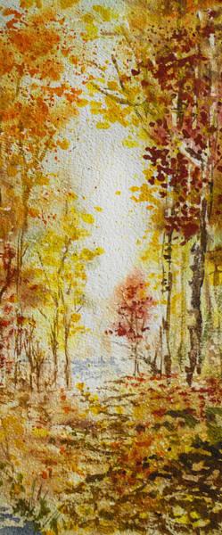 Into The Woods Wall Art - Painting - Fall Tree In Autumn Forest  by Irina Sztukowski