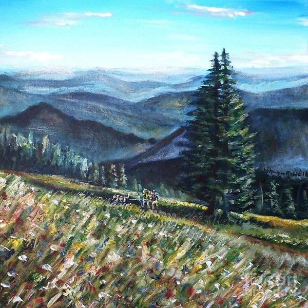 Pikes Peak Painting - Family Hike by Shana Rowe Jackson