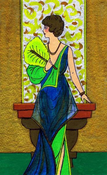 Flappers Drawing - Fan Lady by Mel Thompson