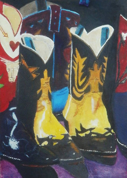 Dude Mixed Media - Fancy Boots by Brent  Harris