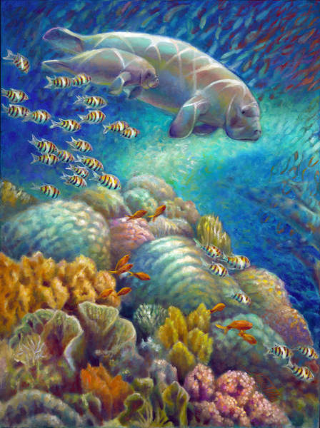 Wall Art - Painting - Fantastic Journey I - Manatees by Nancy Tilles