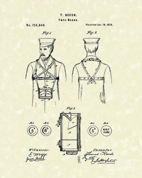 Drawing - Fare Boxes  1875 Patent Art by Prior Art Design