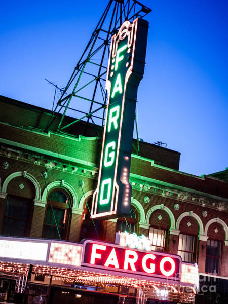 North Dakota Photograph - Fargo Nd Theatre Marquee At Night Photo by Paul Velgos
