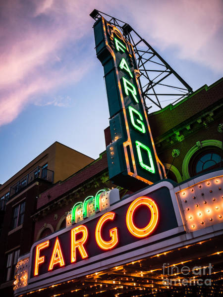 North Dakota Photograph - Fargo Theater And Marquee Sign At Night Photo by Paul Velgos