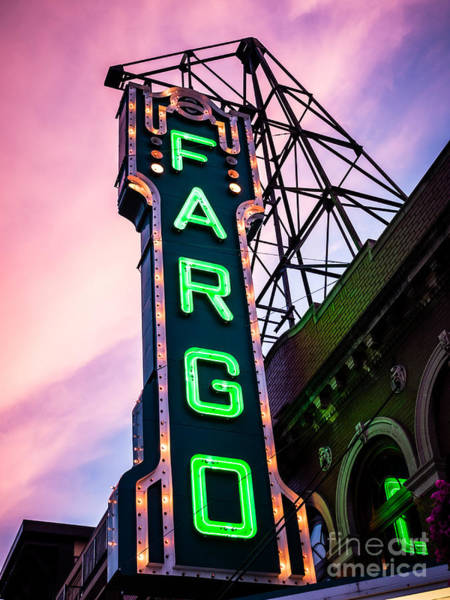 North Dakota Photograph - Fargo Theater Sign At Dusk Photo by Paul Velgos