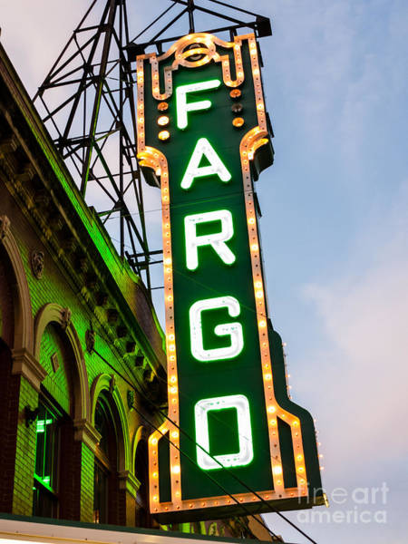North Dakota Photograph - Fargo Theatre Marquee At Night Photo by Paul Velgos