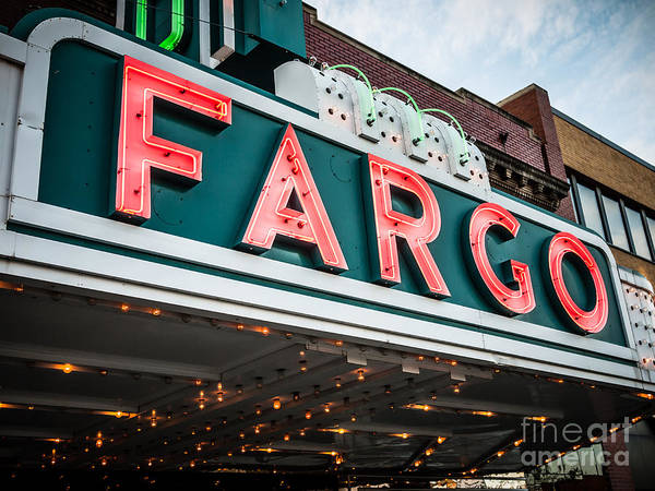 North Dakota Photograph - Fargo Theatre Sign In North Dakota by Paul Velgos
