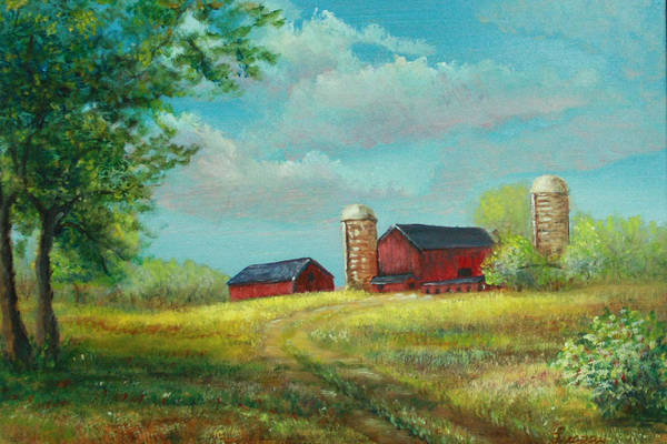 Painting - Red Barns by Katalin Luczay
