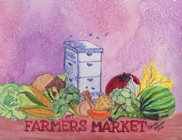 Watermellon Wall Art - Painting - Farmers Market No.3 by Connie Valasco
