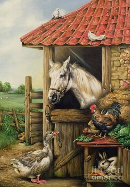 Rabbit Painting - Farmyard Friends by Carl Donner