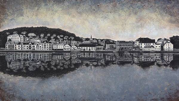 Fjord Drawing - Farsund Waterfront by Janet King