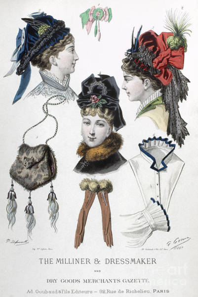 Photograph - Fashion: Hats, C1875 by Granger