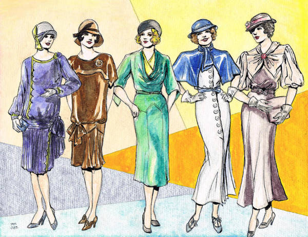 Nostalgia Drawing - Fashions Ladies 1920s And 1930s by Mel Thompson