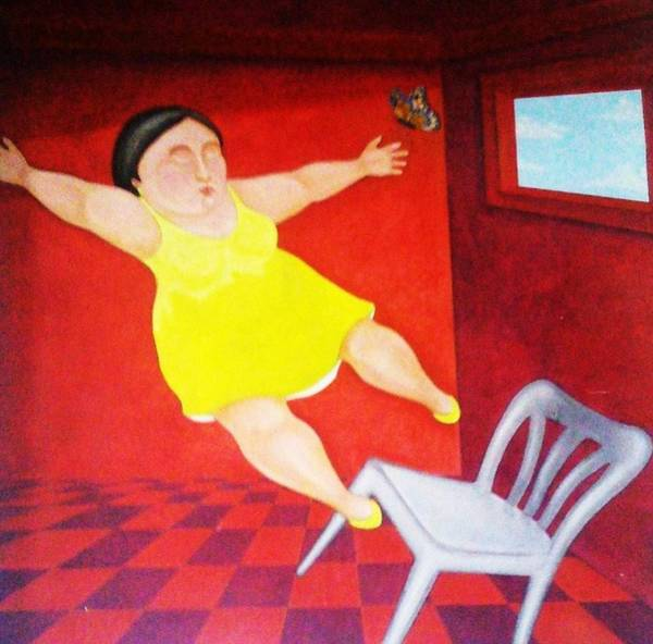 Wall Art - Painting - Fat Lady Falling Off Chair by Unique Consignment