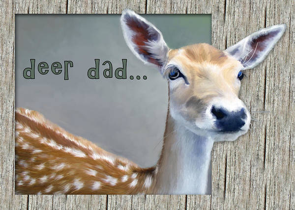 Painting - Fathers Day Deer Dad by Susan Kinney