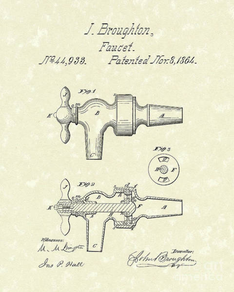 1864 Wall Art - Drawing - Faucet 1864 Patent Art by Prior Art Design