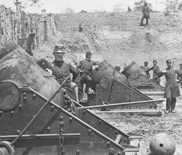 Union Soldier Photograph - Federal Siege Guns Yorktown Virginia During The American Civil War by Mathew Brady