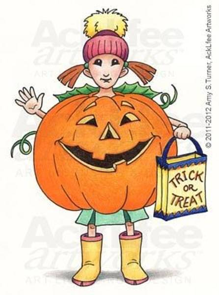Trick Or Treat Drawing - Feenie - Lil Punkin by Amy S Turner