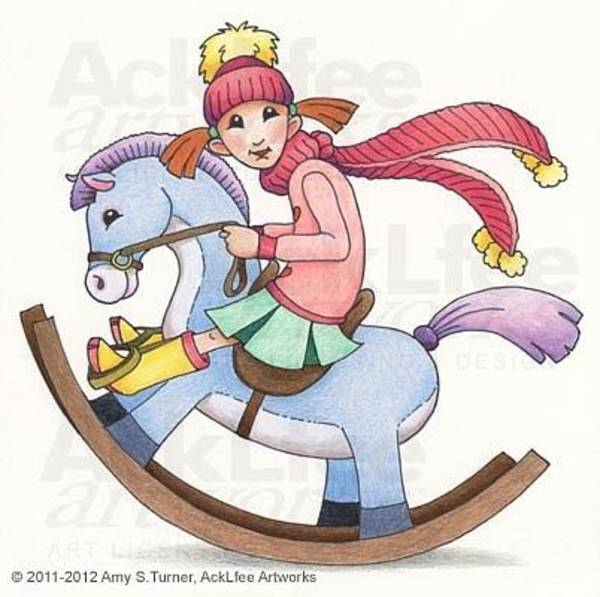 Laugh Drawing - Feenie - Rocking Horse by Amy S Turner
