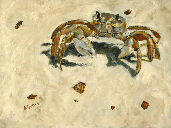 Gulf Shores Alabama Painting - Feisty Little Crab by Ann Caudle