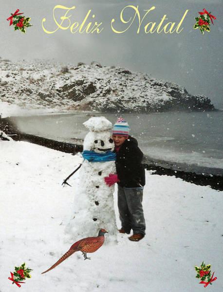 Mixed Media - Felix Natal Portuguese Christmas Card Eftalou Beach Merry Christmas by Eric Kempson