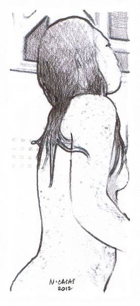 Filipino Drawing - Female Nude 12 by Apollo Neil Casas