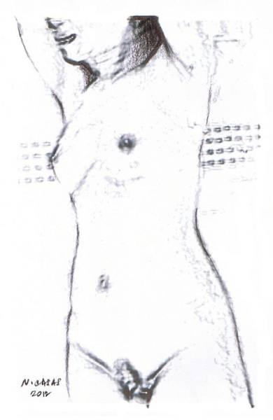 Filipino Drawing - Female Nude 15 by Apollo Neil Casas