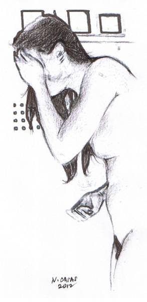 Filipino Drawing - Female Nude 18 by Apollo Neil Casas