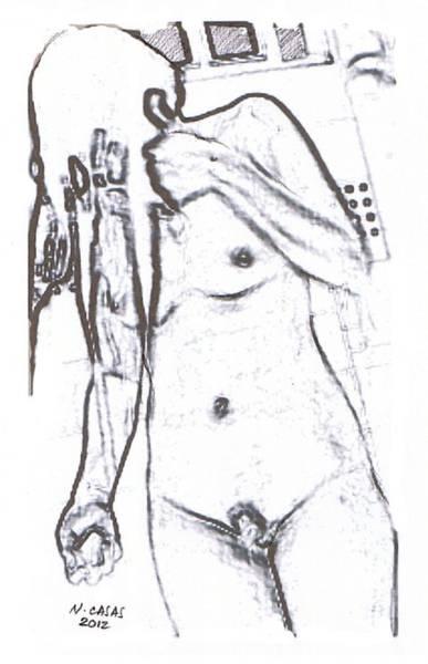 Filipino Drawing - Female Nude 4 by Apollo Neil Casas