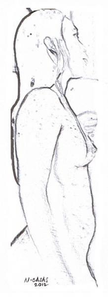 Filipino Drawing - Female Nude 6 by Apollo Neil Casas