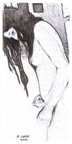 Filipino Drawing - Female Nude 9 by Apollo Neil Casas