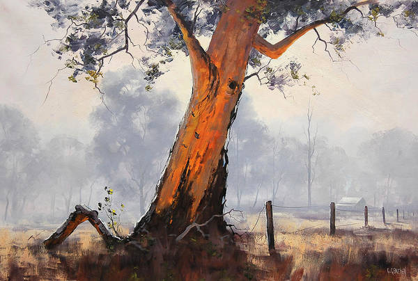 Old Tree Painting - Fence Line Gum by Graham Gercken