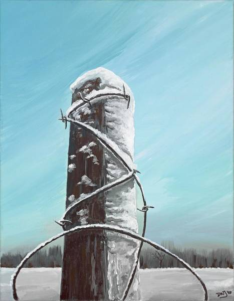 Wall Art - Painting - Fence Post In Winter Field by David Junod