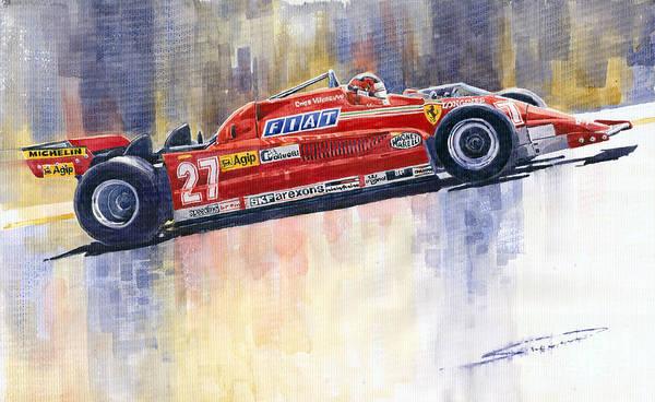 Car Painting - Ferrari 126 Ck Gilles Villeneueve Spanish Gp 1981 by Yuriy Shevchuk