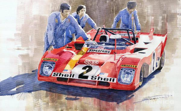 Car Painting - Ferrari 312 Pb 1972 Daytona 6-hour Winning by Yuriy Shevchuk