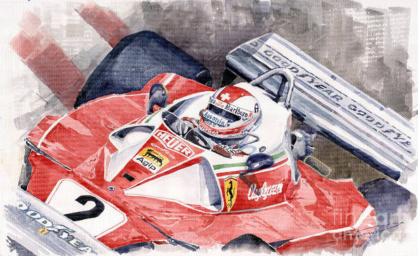 Wall Art - Painting - Ferrari 312 T 1976 Clay Regazzoni by Yuriy Shevchuk