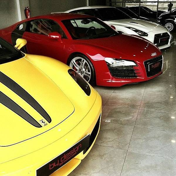 Audi Photograph - #ferrari #f430 #yellow #audi #r8 #red by Khaleel Alibrahim