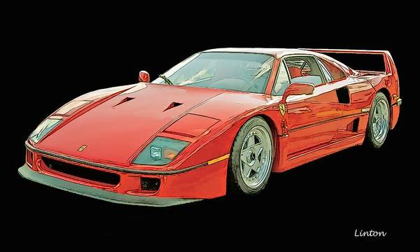 Digital Art - Ferrari Sketch by Larry Linton