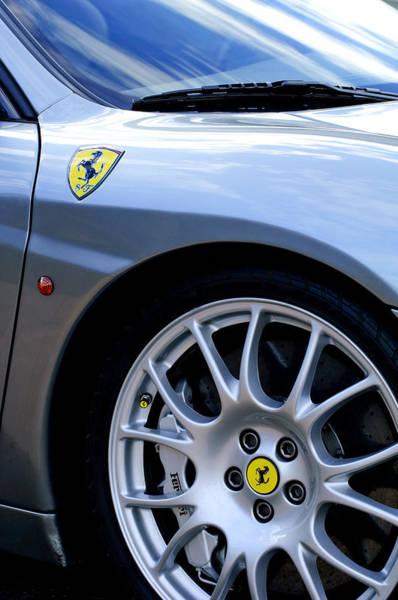 Photograph - Ferrari Wheel And Emblems by Jill Reger