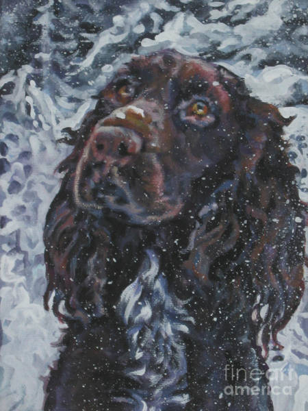 Field Spaniel Painting - Field Spaniel In Snow by Lee Ann Shepard