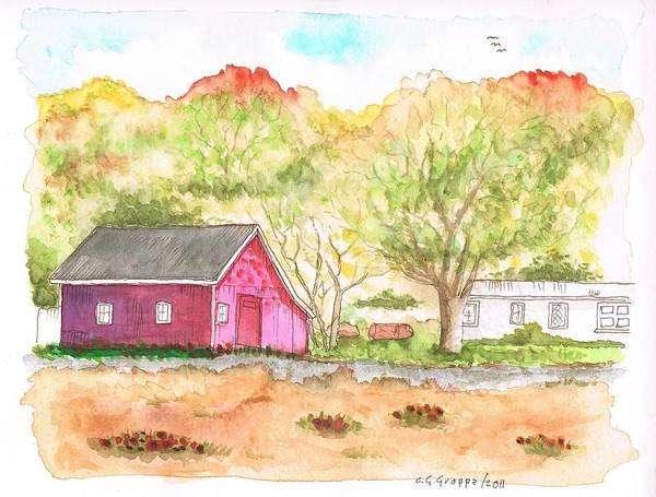 Acuarela Painting - Fieldstone Farm In Julian - California by Carlos G Groppa