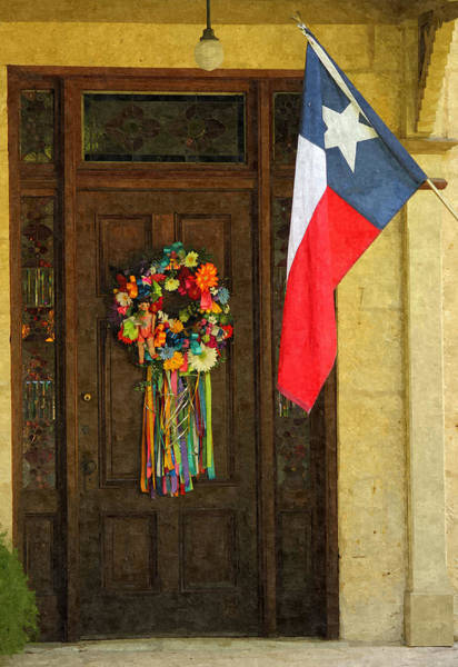 Photograph - Fiesta Garland And Texas Lone Star Flag On Wooden Door by Sarah Broadmeadow-Thomas