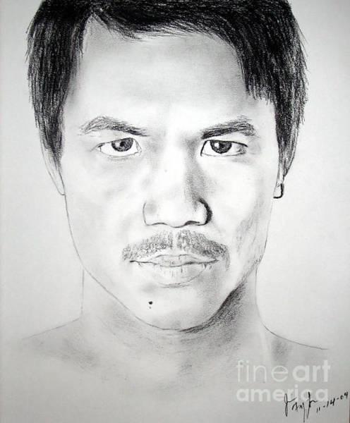 Filipino Drawing - Filipino Superstar And World Champion Boxer Manny Pacquiao by Jim Fitzpatrick